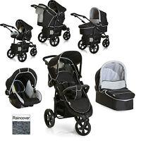 Hauck Viper Trio Slx 3 Wheel Pushchair Stroller Caviar / Grey From Birth