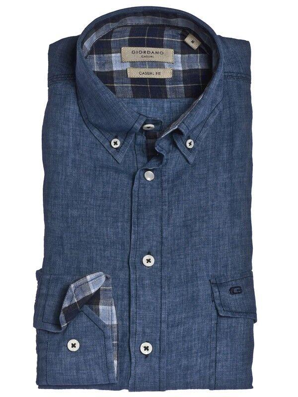 Giordano Casual Fit Langarm Freizeithemd Jeanshemd Indigo Leinen Gr. M XL