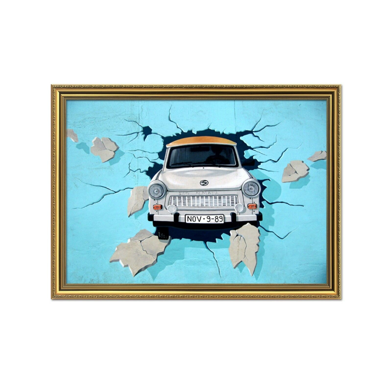 3D Car Broken Wand 511 Framed Poster Home Decor Drucken Painting Kunst AJ WandPapier