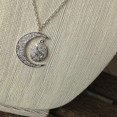 Essential Oil Diffuser Necklace Silver Moon Aromatherapy