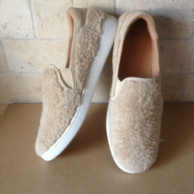 c2f1079893f UGG RICCI NATURAL FURRY FUZZ SLIP-ON SNEAKER SHOES SIZE US 7 WOMENS NEW