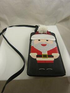 crossbody-phone-purse-Christmas-Santa-Black