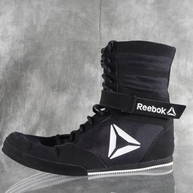 58f6526c65f1 NIB REEBOK Buck BOXING BOOT Trainers Black White Size 12 US 11 UK 34.5 EU