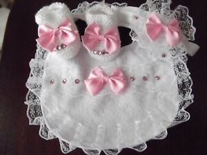 793231f4e32a7 Romany bling hand knitted white baby girls shoes headband + bib ...