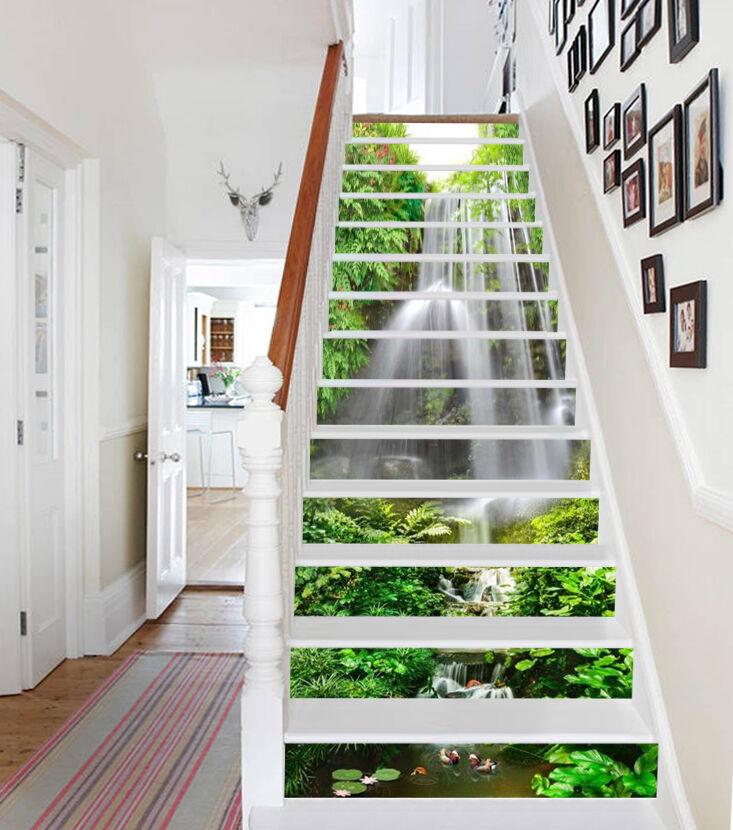 3D Cascade leaf 6 Stair Risers Decoration Photo Mural Vinyl Decal Wallpaper UK