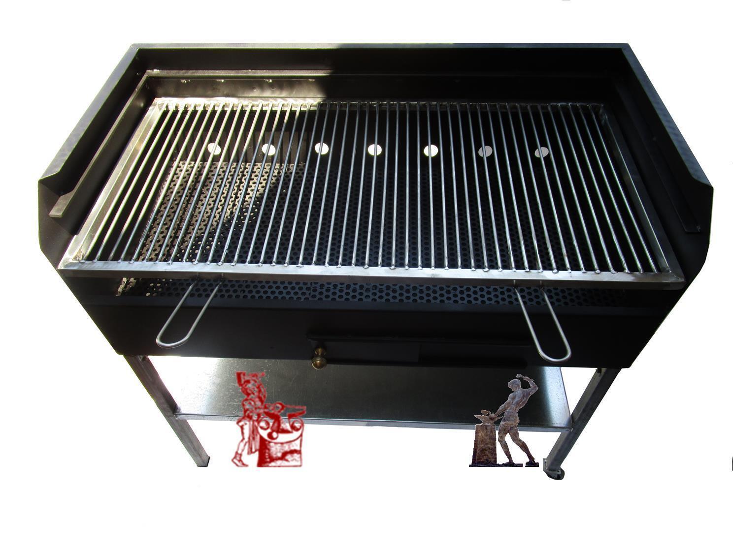 Barbecue con griglia in acciaio inox larghezza 100 cm.