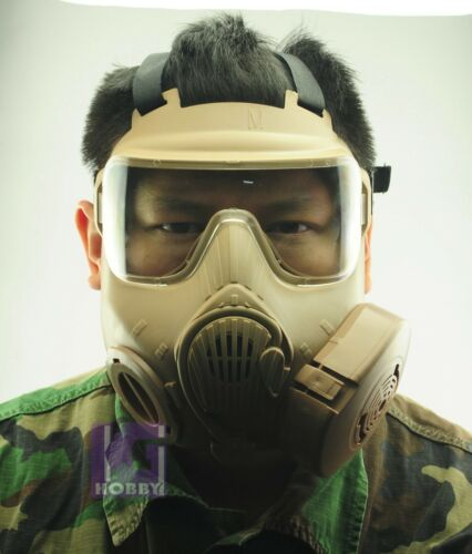 Airsoft Protection Twin Fans FOG FREE M50 style full face gas mask Cool FDE GEAR