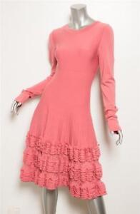 fcf86531b8 ALAIA Womens Pink Stretch Ribbed Ruffle Knit Skirt Long Sleeve Dress ...
