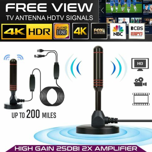 200Mile 1080P HD Digital Indoor Amplified TV Antenna HDTV with Amplifier VHF//UHF