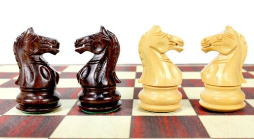"""Fierce Knight Weighted Chess Set Pieces 3/"""" Rosewood 2 Extra Queens"""