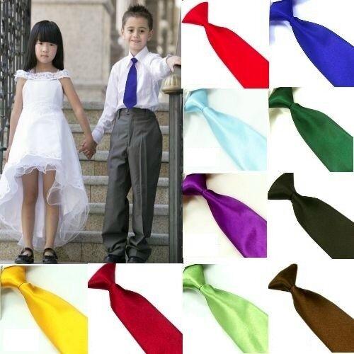 New 21 Colors Kid's Children Boys Wedding Solid Neckties Plain Pretied Tie CT