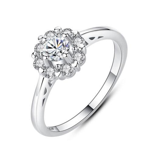 Zircon Wedding Rings for Women Solid 925 Silver Jewelry Exquisite Flower AAA