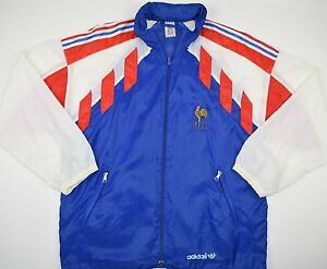 on sale 5d506 c49bb Image is loading 1990-1992-FRANCE-ADIDAS-FOOTBALL-JACKET-SIZE-S