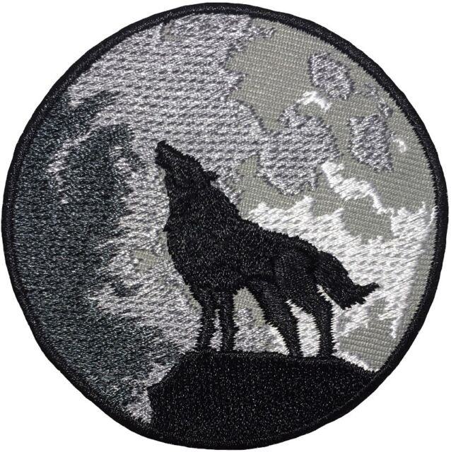 Embroidered Iron On Patch Howling Wolf Wolf Wild Animal