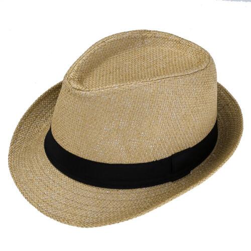 Men Women Beach Trilby Floppy Fedora Straw Wide Brim Beach Cap Sun UV Hat