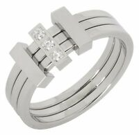 Mens Stainless Steel Band Wedding Ring 3 Row CZ Comfort Fit 6mm Shiny Silver