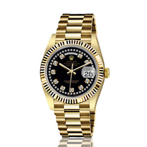 Rolex-36mm-Presidential-18kt-Gold-Glossy-Black-String-Diamond-Accent-Dial-Flutt