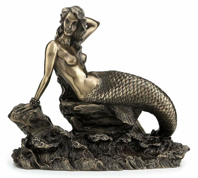 Gorgeous Bronzed Mermaid Sitting on Rock with Crashing Waves Figure -GREAT GIFT!