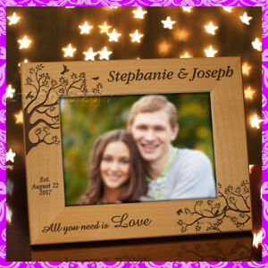 5x7-PERSONALIZED-CUSTOM-NEW-COUPLE-ALDERWOOD-PICTURE-FRAME-Gift-Love-Birds