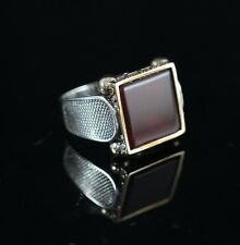 Turkish Handmade Ottoman 925K Sterling Silver Agate Men's Ring Size 9.5