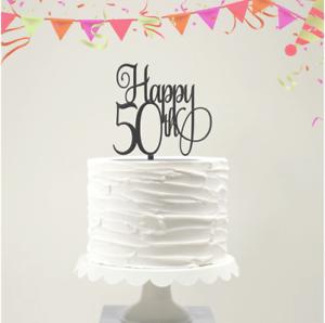 Range of Colours Acrylic Cake Topper 50th Birthday Happy 50th -Script Font