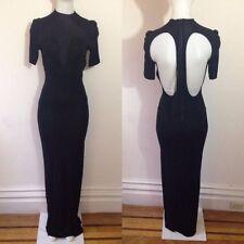 ACNE Short Sleeve Scuba Neck Back Cutouts Zip Maxi Dress in Black Viscose 36 S