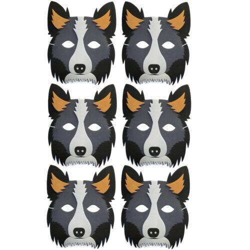 Childrens Animal Fancy Dress Pack of 6 Foam Sheepdog Collie Masks