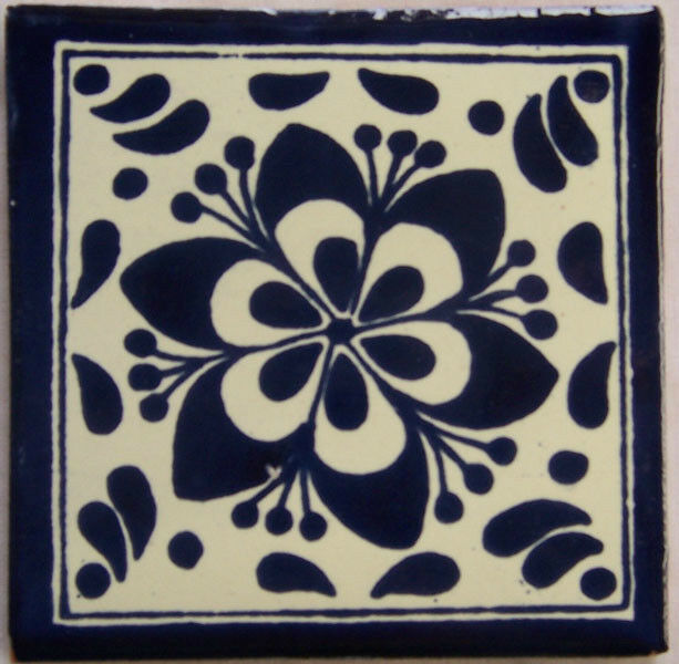 C192 - Mexican Handmade Talavera Clay Tile Folk Art 4x4