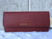New-au Michael Kors Jet Set Flat Saffiano Leather Wallet Brick Gold $128+