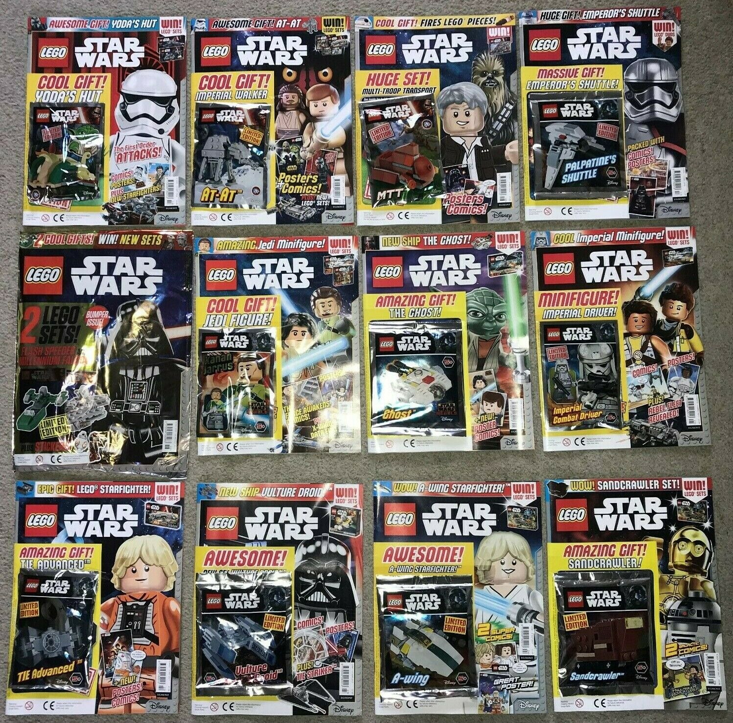Complete Set of Lego UK Star Wars Magazines Issues 1 - 25 With PolyTasches