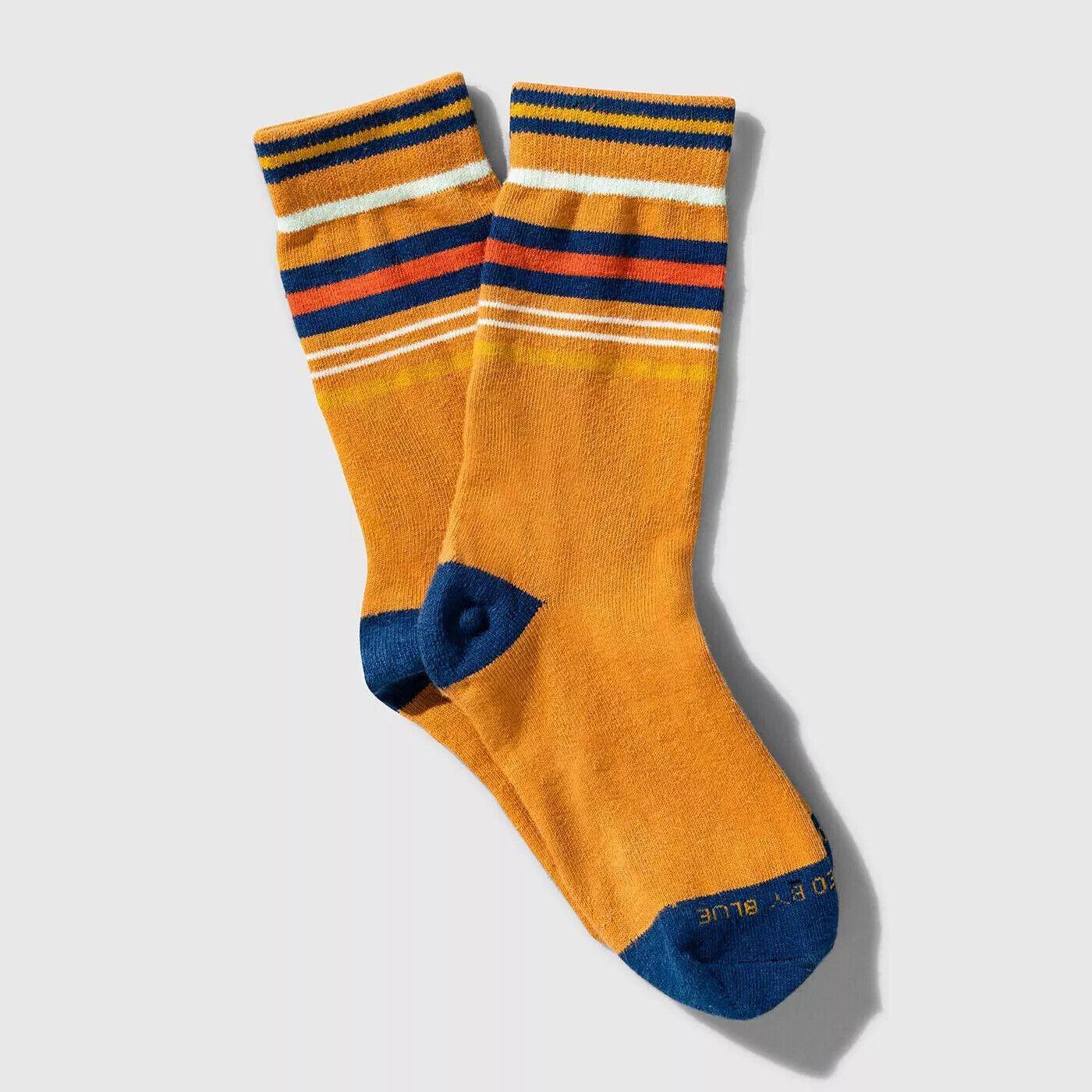 (THREE PACK) United By Blue Organic Striped Crew Soft Hemp Socks Sienna L - 3pc