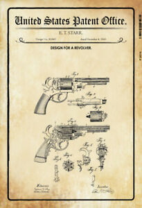 US-Patent-Revolver-Motif-1-1860-Tin-Sign-Shield-Metal-Tin-Sign-20-x-30-CM