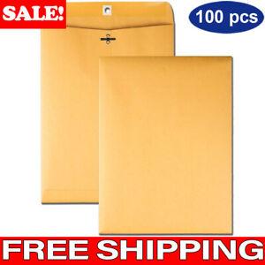 100 Pcs CLASP ENVELOPES 9x12 28lb Kraft Shipping Mailing Gummed Business Manila