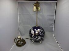 Rosenthal Paradiesvogel Art Deco Lampe 1000/1000 Silber Overlay um 1930 blau