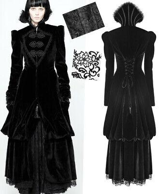 victorian ruff velvet long coat dress gothic baroque lace