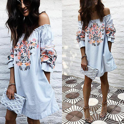 Fashion Women Summer Boho Beach Dress Evening Cocktail Short Mini Dress Casual