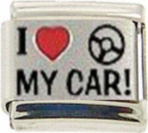 VEHICLE I LOVE MY CAR RH Laser Italian 9mm Charm NC065 Fits Nomination Classic