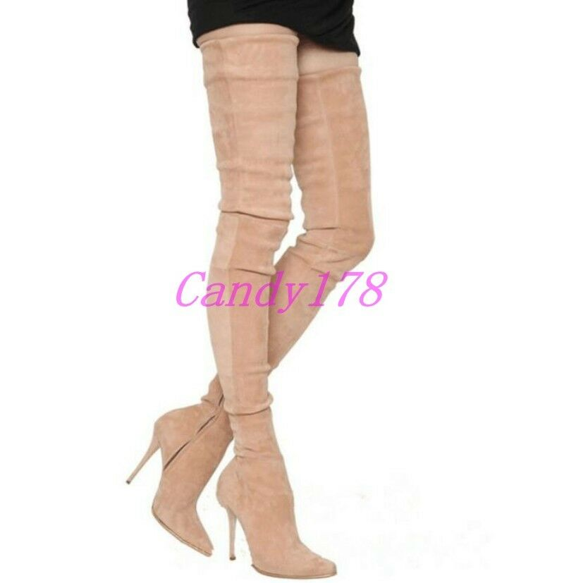 New Womens Over The Knee Thigh High Boots Suede Stilettos High Heels Dress Shoes