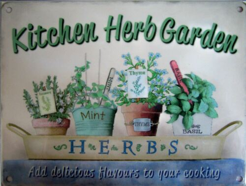 15x20cm KITCHEN HERB GARDEN metal advertising sign wall plaque