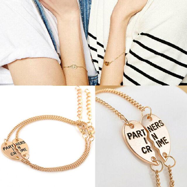 New Best Friends Forever Split Heart Pendant Bracelet Set Friendship Jewelry  Tw