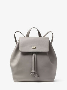 7bc614100a95 Image is loading Michael-Kors-AUTHENTIC-Junie-Pebbled-Leather-Backpack-Pearl -