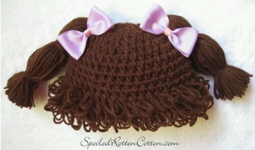 Cabbage Patch Kid Crochet Hat Wig Dark Brown Pigtails Infant Toddler Adult CPK