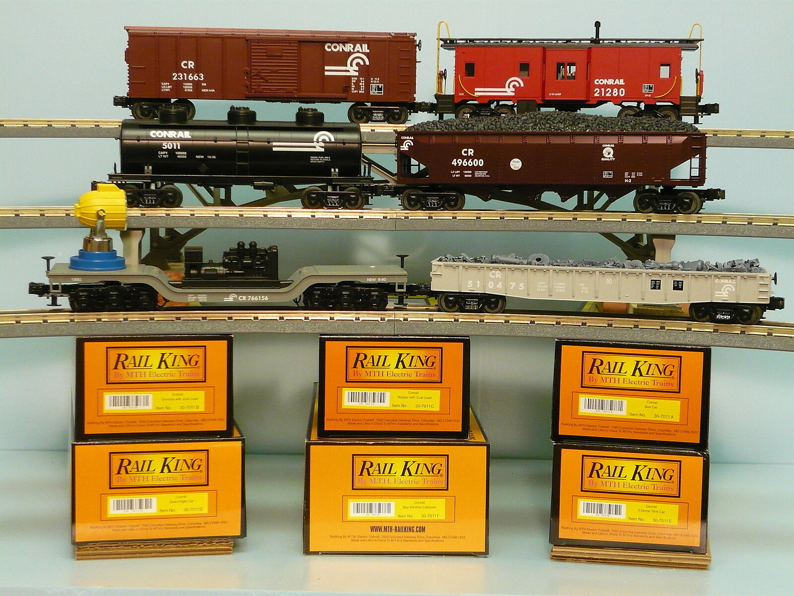 MTH Conrail Freight Set Railking O O27 6 Car Freight Set 30-7011