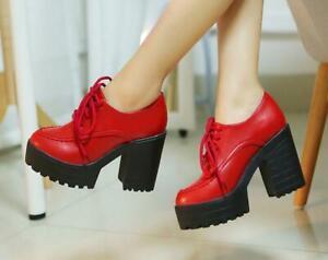 Gothic Women Punk Chunky High Block Heel Lace Up Lolita Platform Mary Jane Shoes