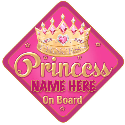 Princess Car Sign Like Baby//Child On Board Pink//Gold