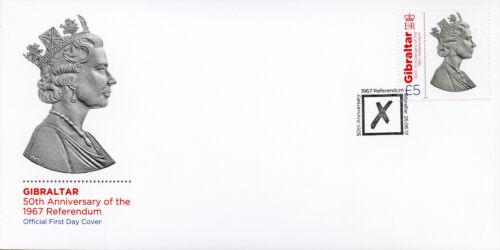 Gibraltar 2017 FDC 1967 Referendum Queen Elizabeth II 1v Cover Royalty Stamps