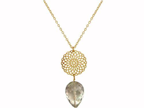 GEMSHINE Damenhalskette Mandala Rauchquarz Silber vergoldet oder rose