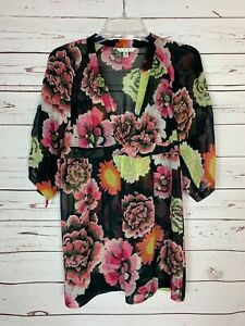 Cabi-Women-039-s-XS-Extra-Small-Brown-Pink-Floral-Fall-Tunic-Top-Blouse-Shirt-90