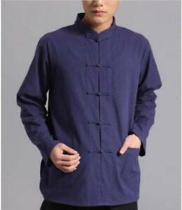 Chinese-Style-Mens-Long-Sleeve-Kung-Fu-Tai-Chi-Tops-Cotton-New-Shirt-Size-M-4XL