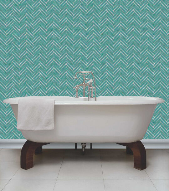 Teal bathroom wallpaper